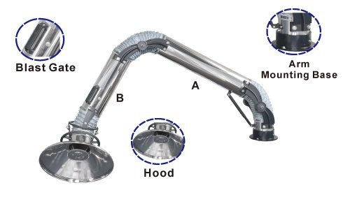 Stainless Standing Fume Arms