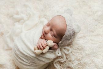 baby boy with teddy bear Newborn Photographer Pflugerville TX