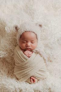 newborn in bear bonnet photography Westlake tx