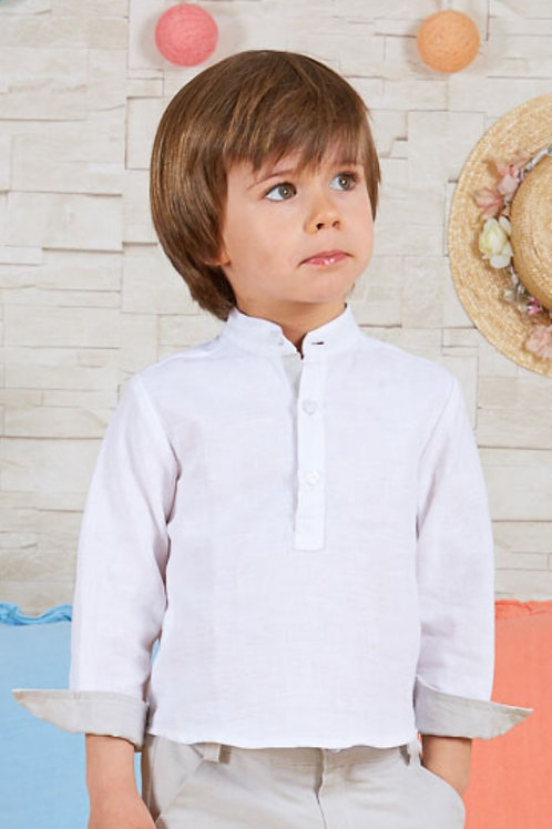 Page Boys Long Sleeve Shirt In White Linen With Ivory Details