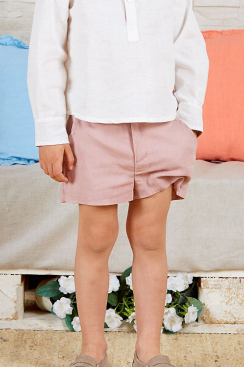 Page Boys Shorts In Soft Pink Linen