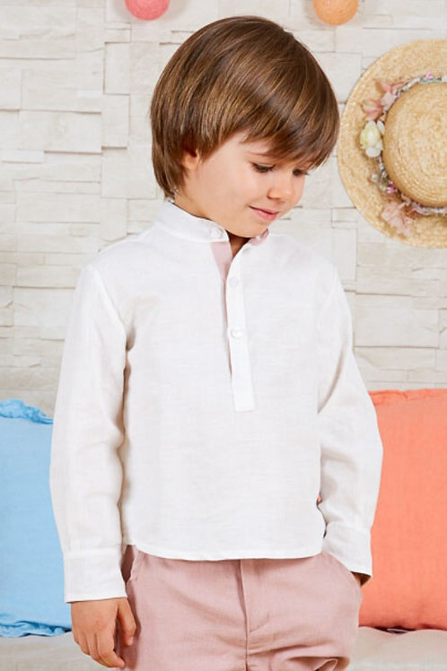 Page Boys Long Sleeve Shirt In White Linen With Pink Details