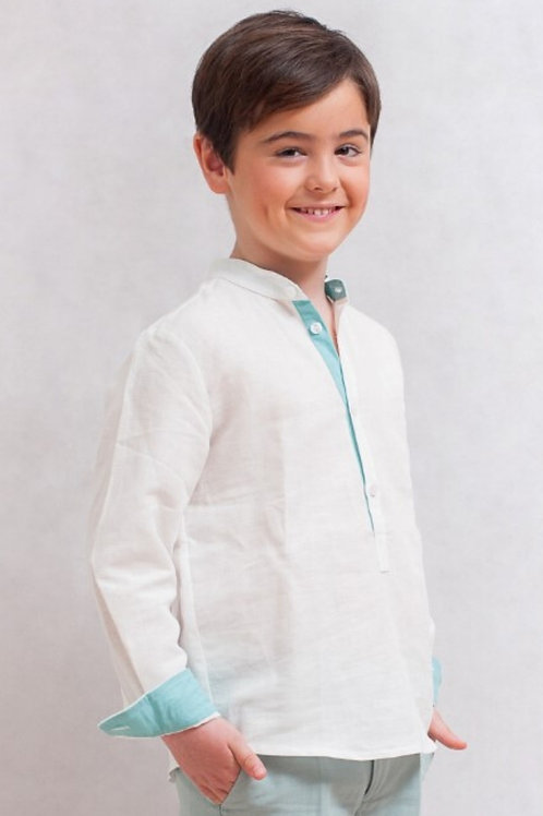 Page Boys Long Sleeve Shirt In White Linen With Green Details