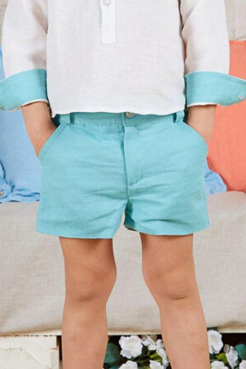 Page Boys Shorts In Acqua Linen