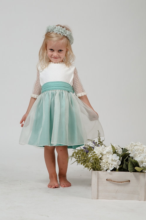 Flower Girl Dress With Sleeves In White And Minty Green - Mary