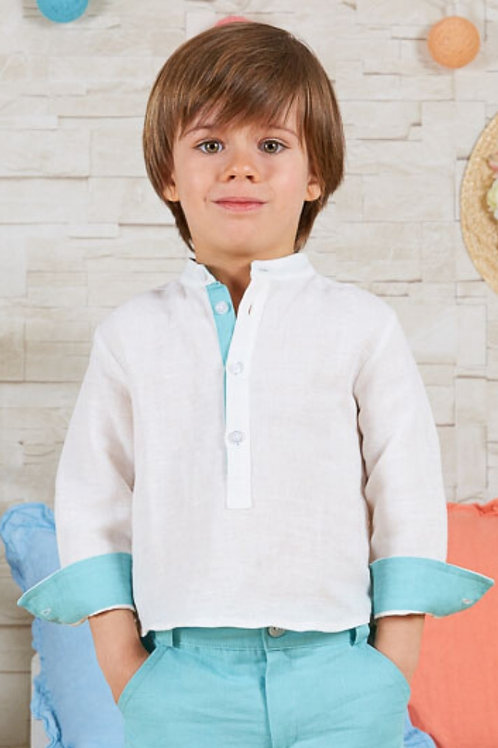 Page Boys Long Sleeve Shirt In White Linen With Acqua Details