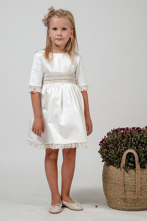 Flower Girl Dress With Sleeves In Off White - Juliette