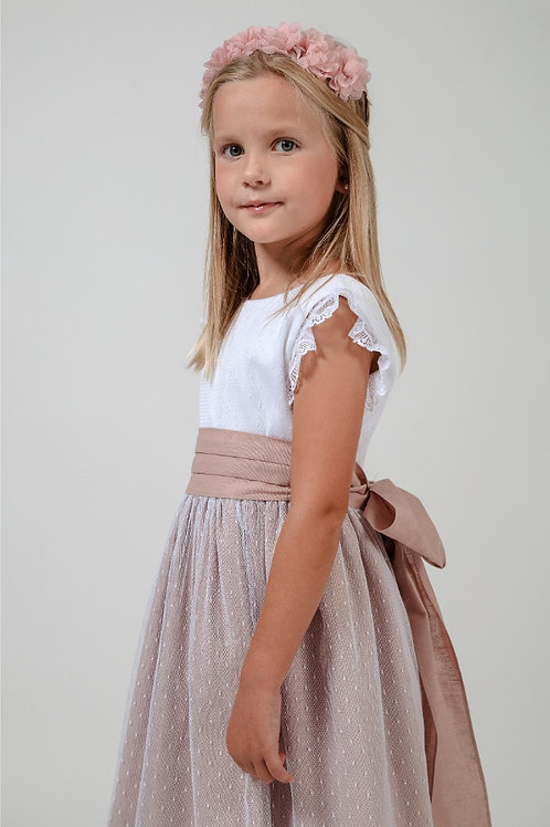 Flower Girl Dress With Sleeves In White And Soft Pink - Rosie