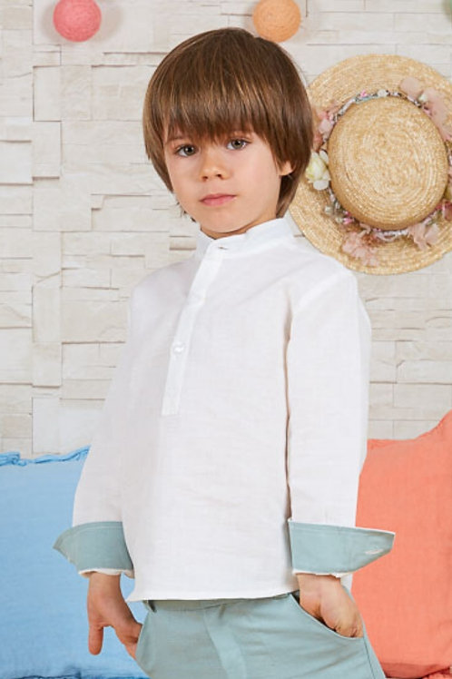 Page Boys Long Sleeve Shirt In White Linen With Baltic Green Details