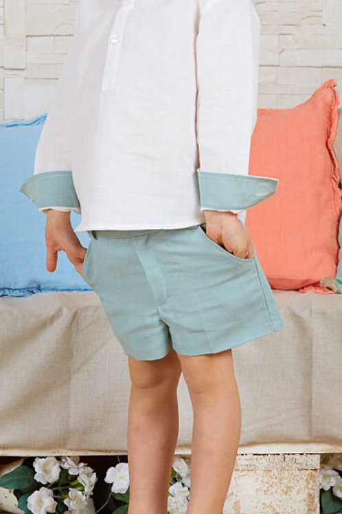 Page Boys Shorts In Baltic Green Linen
