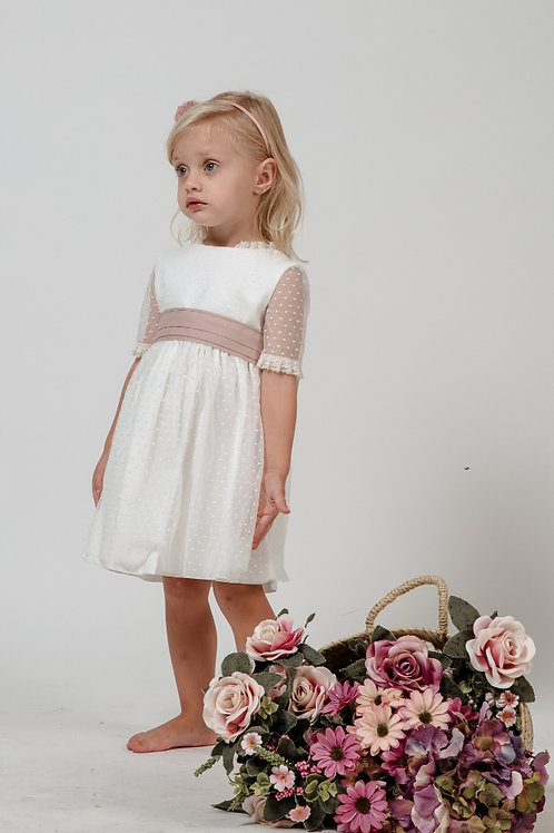 Flower Girl Dress With Sleeves In Off White - Josephine
