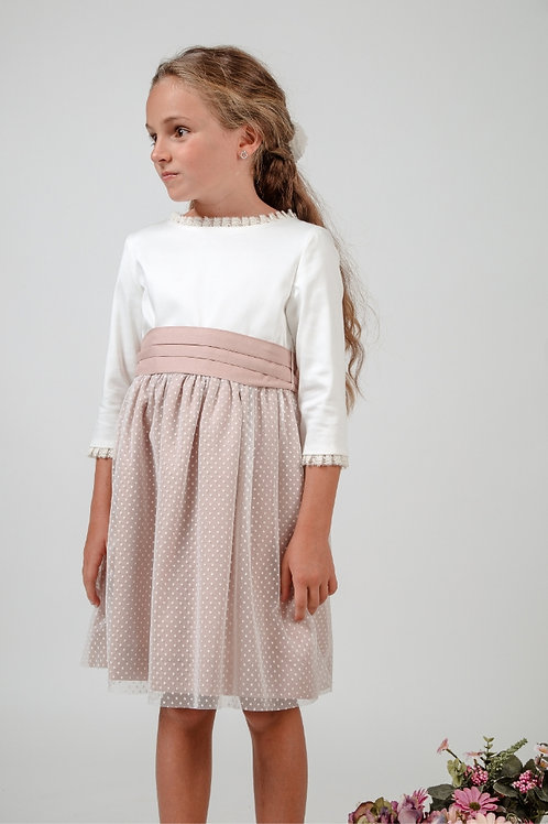 Flower Girl Dress With Sleeves In White And Soft Pink - Alexia