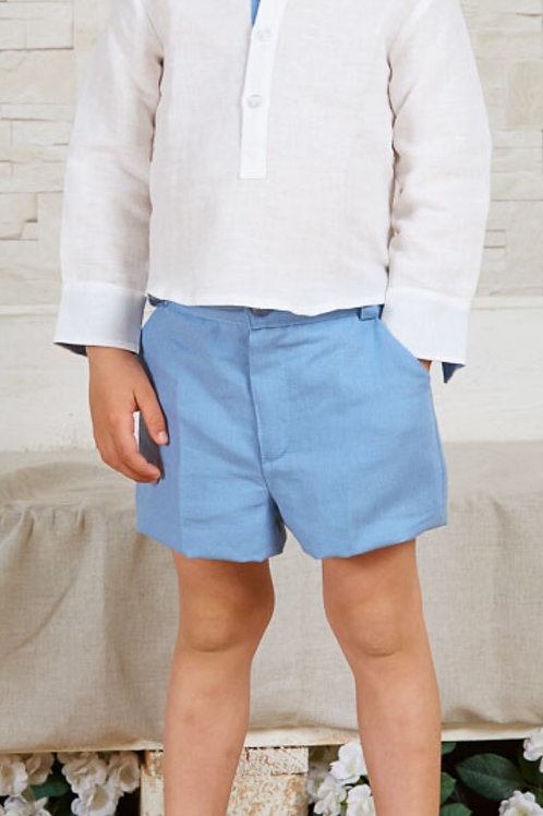 Page Boys Shorts In Blue Linen