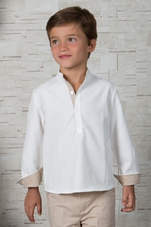 Page Boys Long Sleeve Shirt In White Linen With Sand Details
