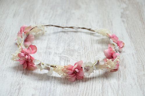 Lisa Flower Band With Small White And Pink Flowers