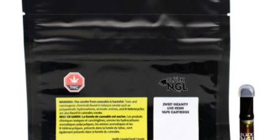 BLACK NGL ZWEET INZANITY LIVE RESIN VAPE CARTRIDGE