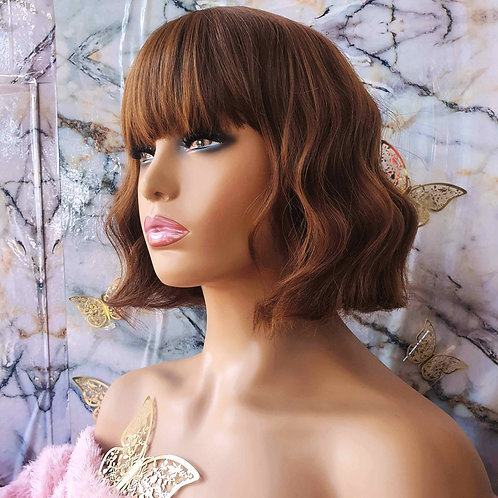 "12"" Curly Honey Brown Fringe Wig nalela hair nairobi kenya"