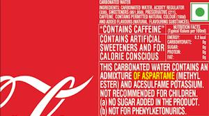 Image Credit: Coke India Nutritional Label