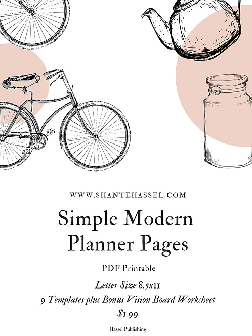 8 Simple Modern Planner Templates + Bonus Vision Board Worksheet