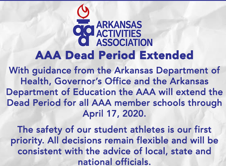 AAA will extend the Dead Period for all AAA member schools through April 17, 2020.