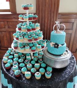 Tiffany Wedding Cake and Cupcakes