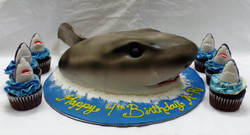 Shark Cake and Cupcakes