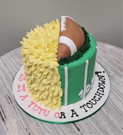 Tutu or Touchdown Gender Reveal Cake