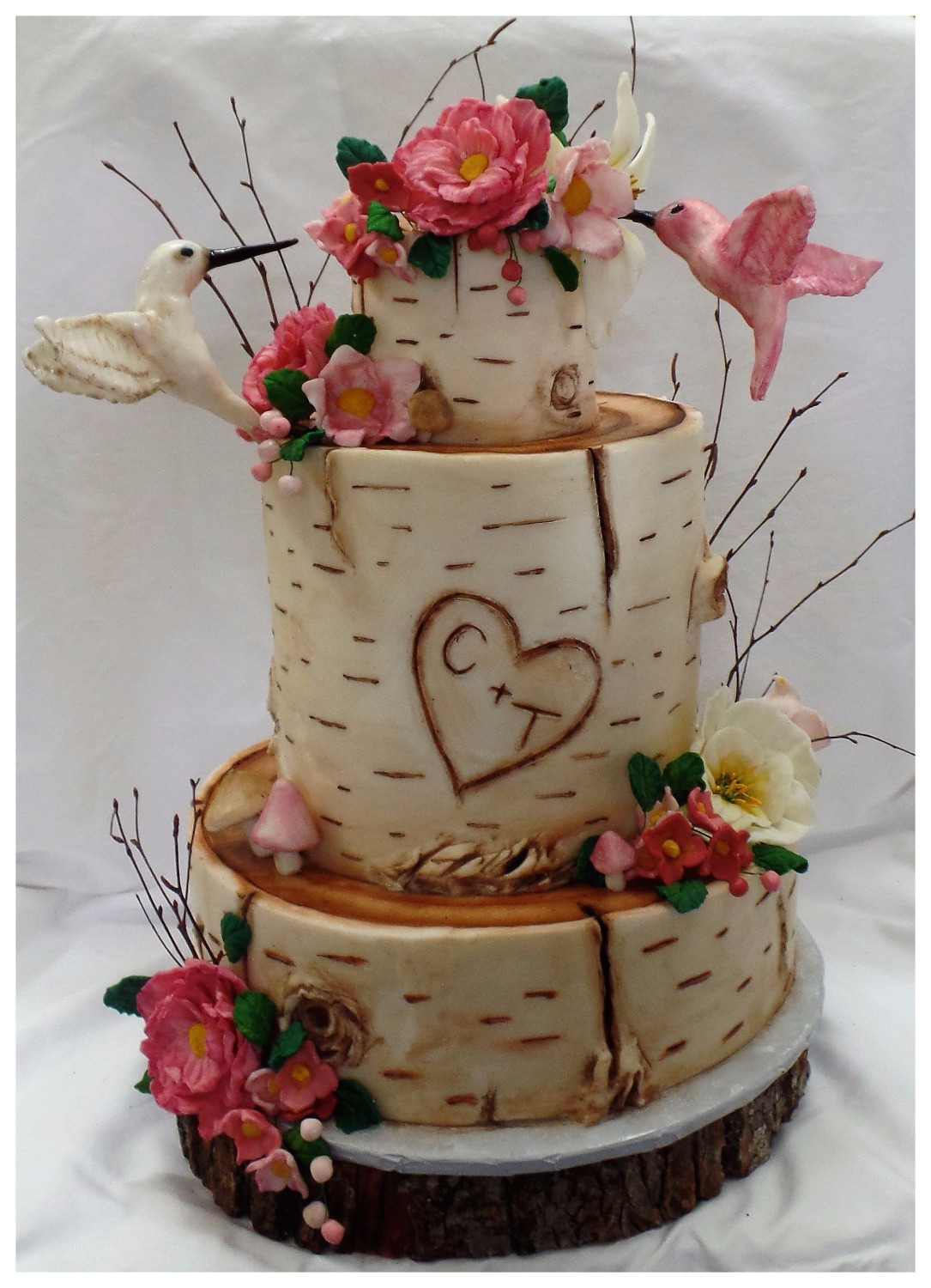 Hummingbirds on Birch Wedding Cake