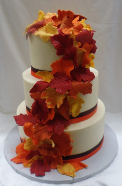 Fall Foliage Wedding Cake