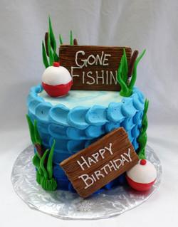 Gone Fishin' Birthday Cake