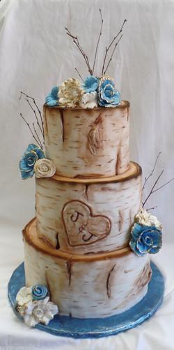 Birch Tree Baby Shower Cake