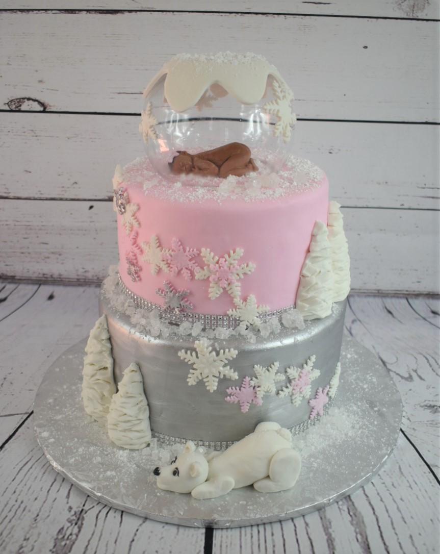 Snow Globe Baby Shower Cake