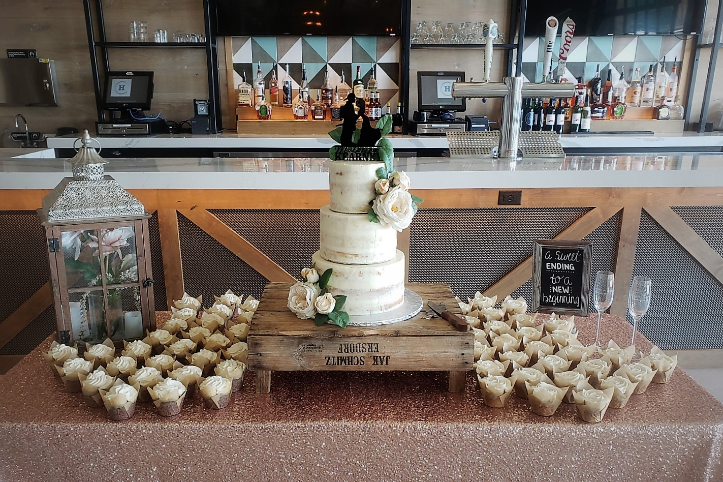 Rustic Charm Wedding Cake & Cupcakes