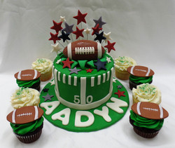 Sports Baby Shower Cake and Cupcakes