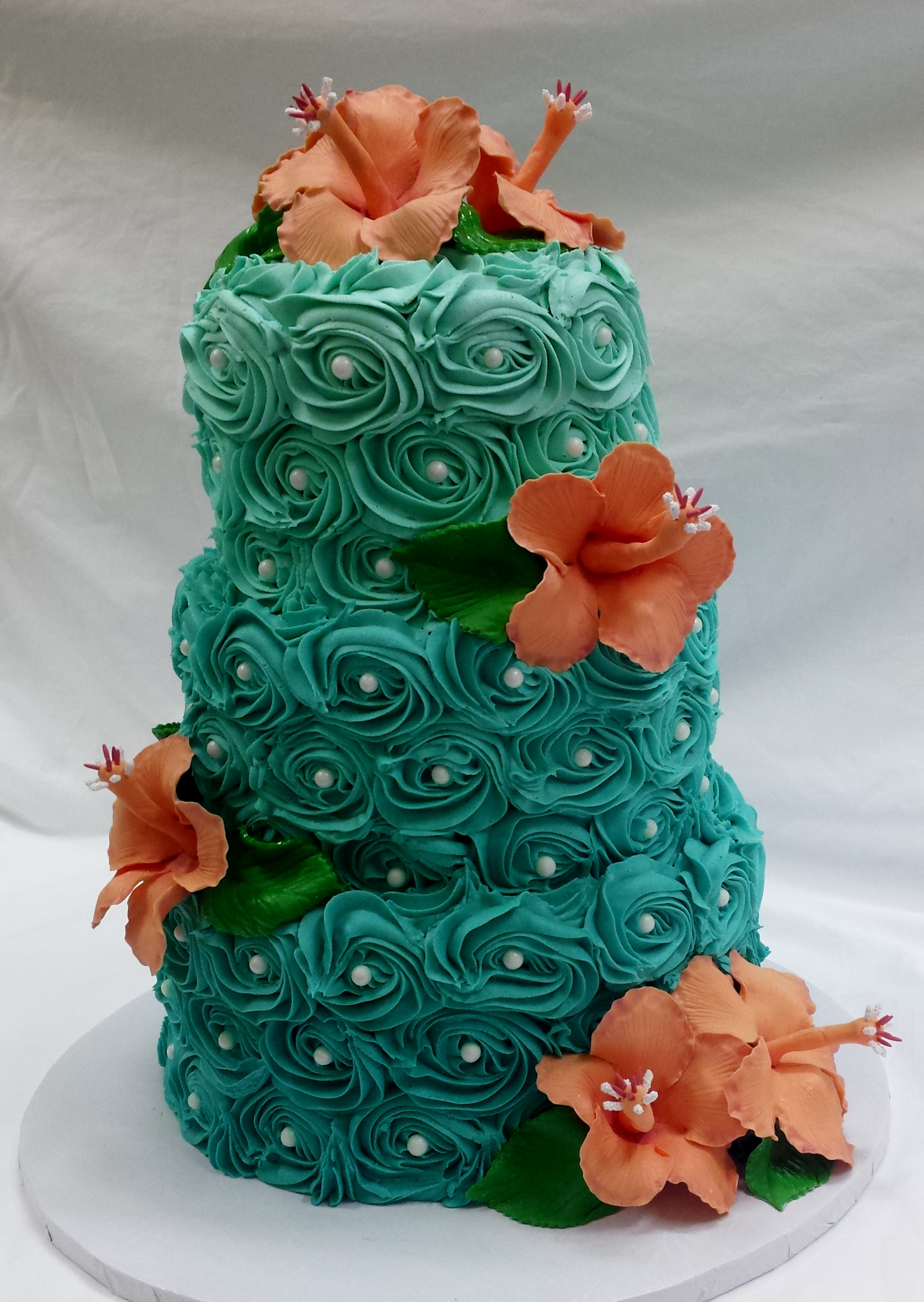 Teal w/Coral Hibiscus Wedding Cake