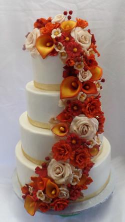 Fall Floral Wedding Cake