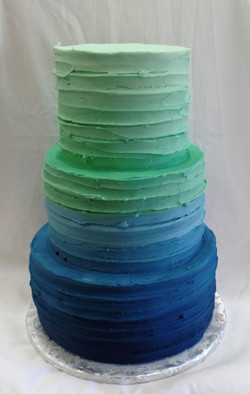 Blue to Mint Baby Shower Cake