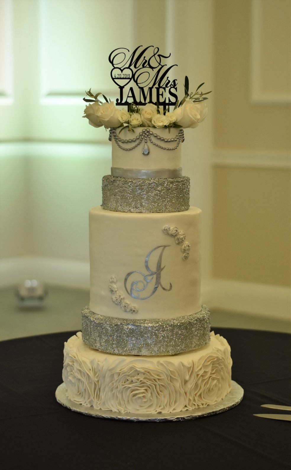 Silver Sequin Wedding Cake