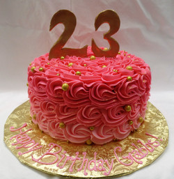 Ombre Pink and Gold Birthday Cake
