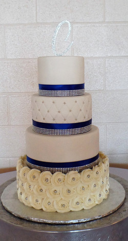 Royal Blue and Diamond Wedding Cake