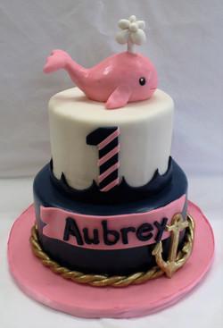 Pink Whale Birthday Cake