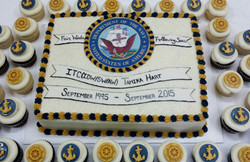 Navy Retirement Cake and Cupcakes
