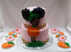 Pumpkin Afro Puff Baby Shower
