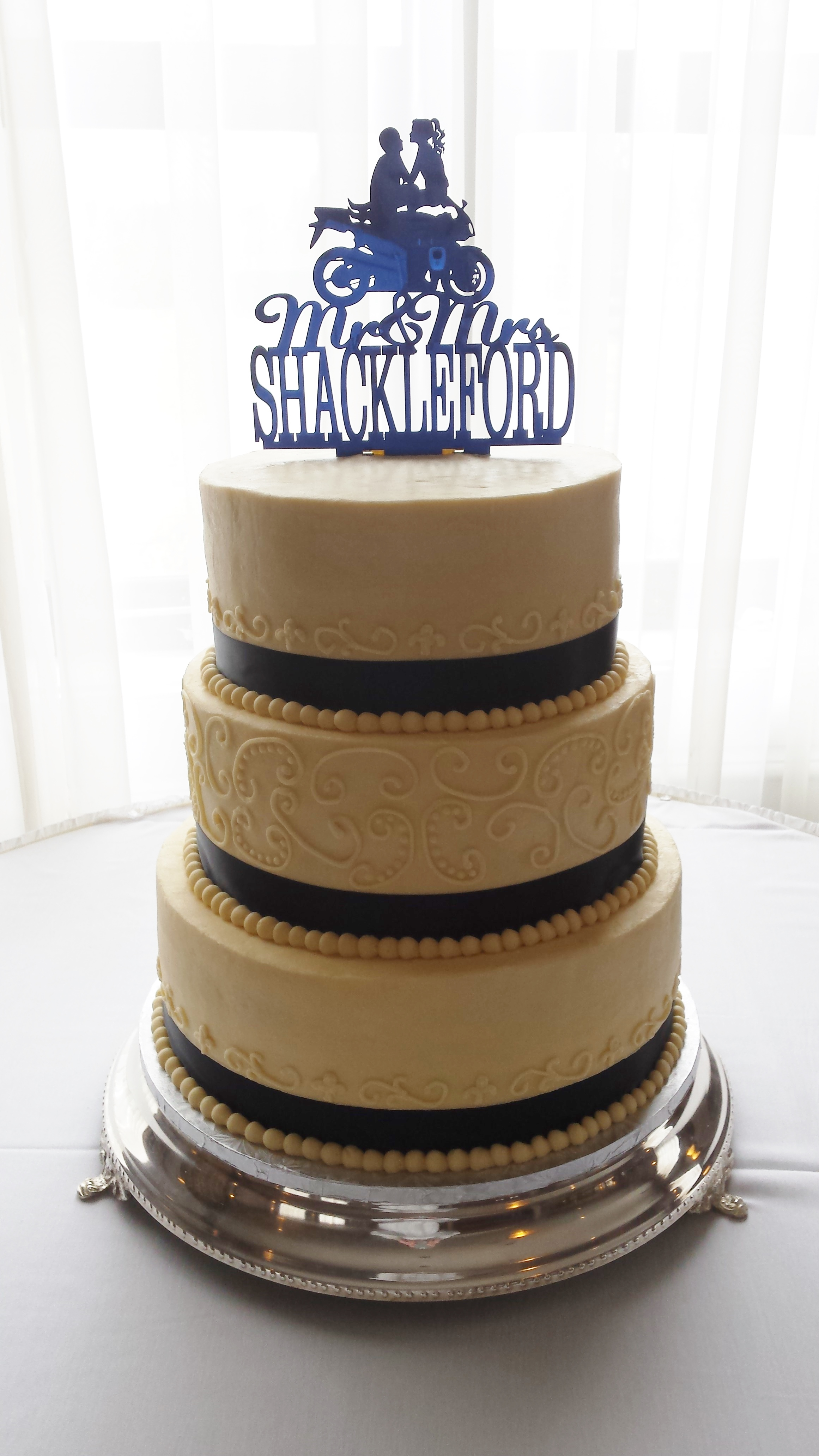 Navy Blue and Ivory Wedding Cake