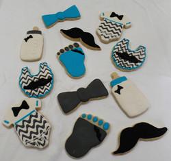 Mustache Baby Shower Cookies