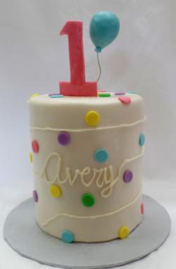 Balloon and Spots Birthday Cake