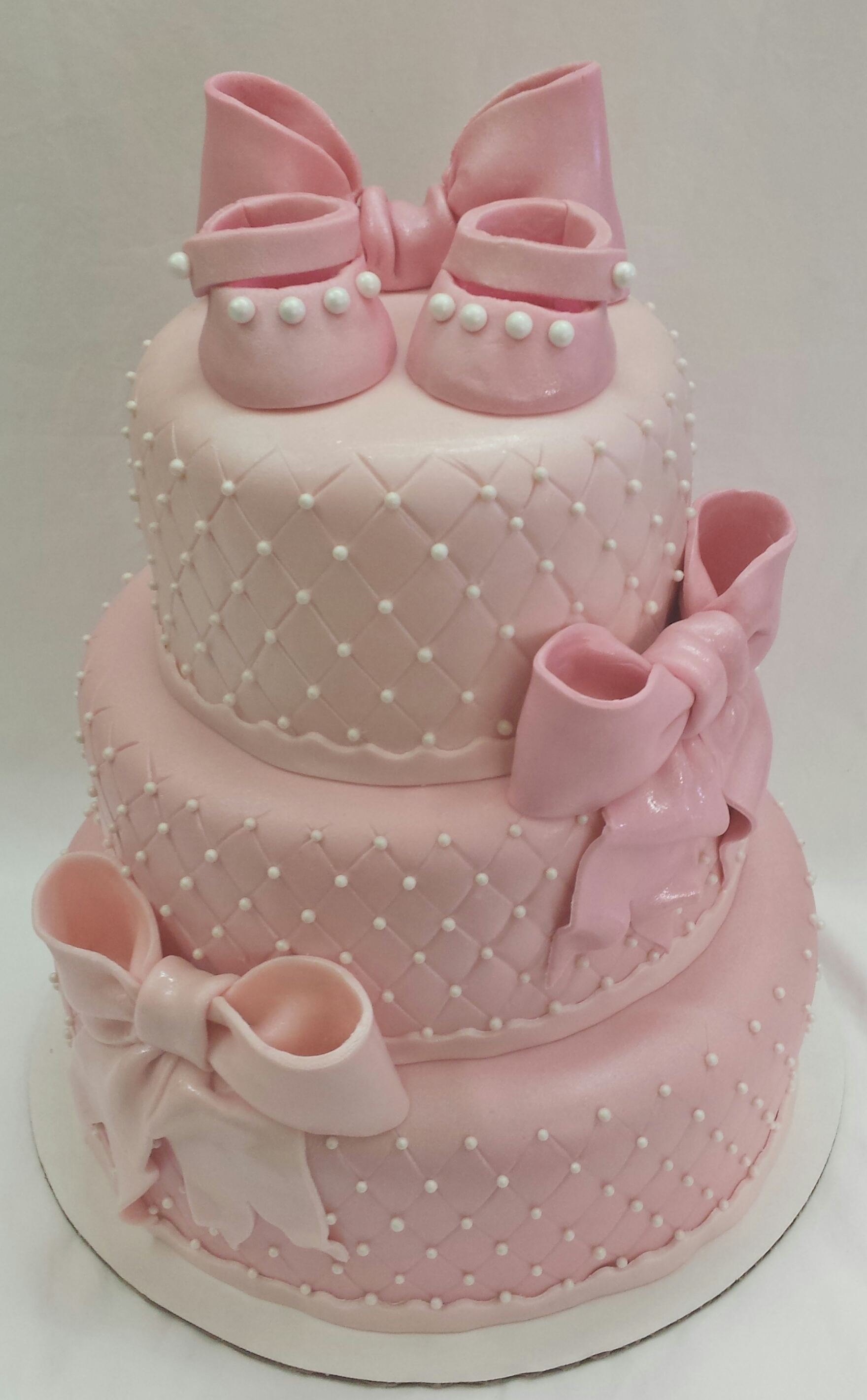 Pearls & Bows Baby Shower Cake