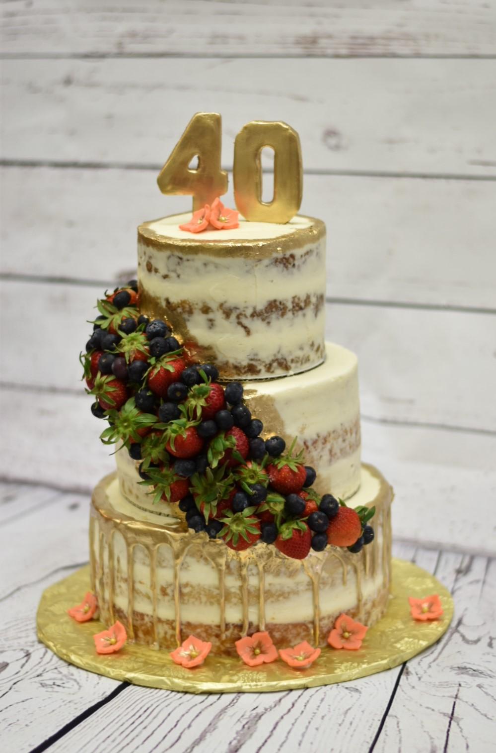 Trailing Fruit Birthday Cake
