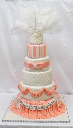 Plume White and Peach Birthday Cake