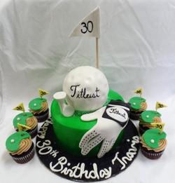 Golf Birthday Cake and Cupcakes